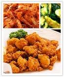 鶏のなんこつ唐揚げ/きゅうりの味付け/川エビ唐揚げ