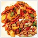 鶏肉辛子炒め/鶏肉とピーマン炒め