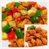 若鶏の骨つき唐揚げ/鶏肉の味噌炒め