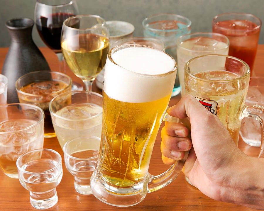 【サク飲みコース】サクッと飲みたい方に!全3品+1.5時間飲み放題付⇒1,480円