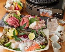 鮮度抜群の海鮮と旨味たっぷりのお肉をじっくり焼き上げる◎2時間飲み放題付『素楽笑の焼きコース』