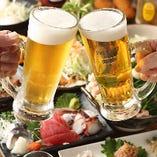 まずはビールで乾杯!キンキンに冷えた生ビールで仕事の疲れを癒してください