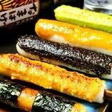 きりたんぽ 味噌田楽焼き・黒胡麻焼き・ずんだ焼き・磯辺焼き・鶏味噌焼き