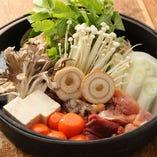 比内地鶏の鶏すき鍋(もつ入り)
