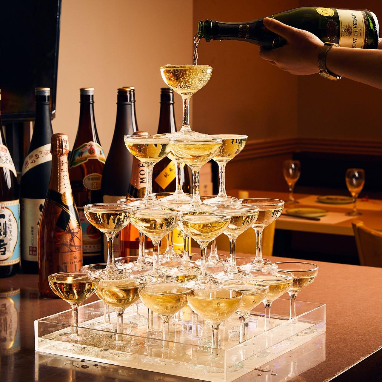 お祝い事にお勧め!シャンパンタワー