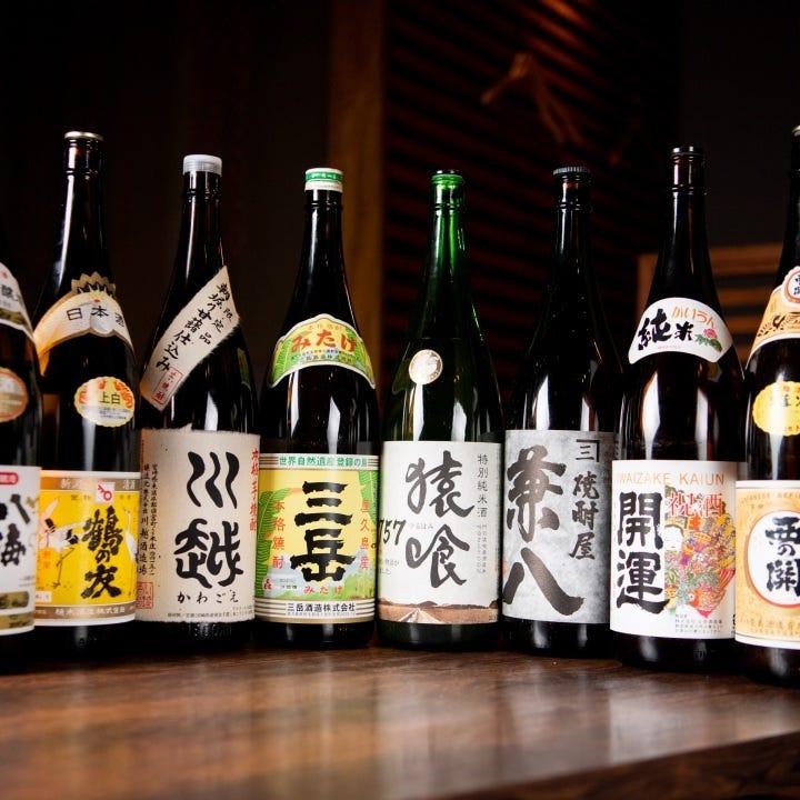 プレミアム飲み放題では日本酒や焼酎を種類豊富に楽しめる