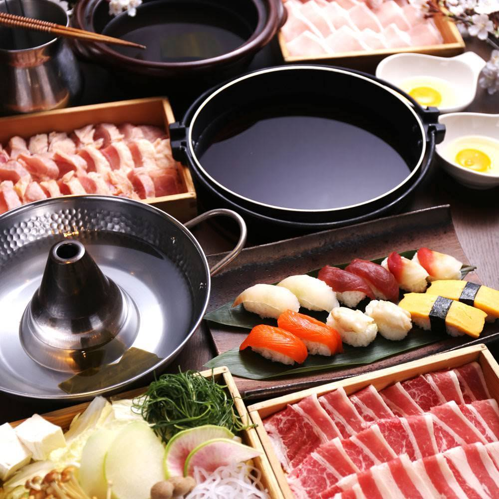 しゃぶしゃぶすき焼きとお寿司など食べ放題1980円~
