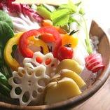 野菜のお造り~燻製醤油とご一緒に 870円(税抜き)