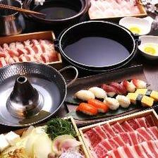 選べる3種のお鍋とお寿司等食べ放題