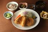 蟹クリームコロッケとアジフライ定食