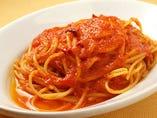 スパゲッティ ニンニク赤唐辛子のトマト味 or 塩味