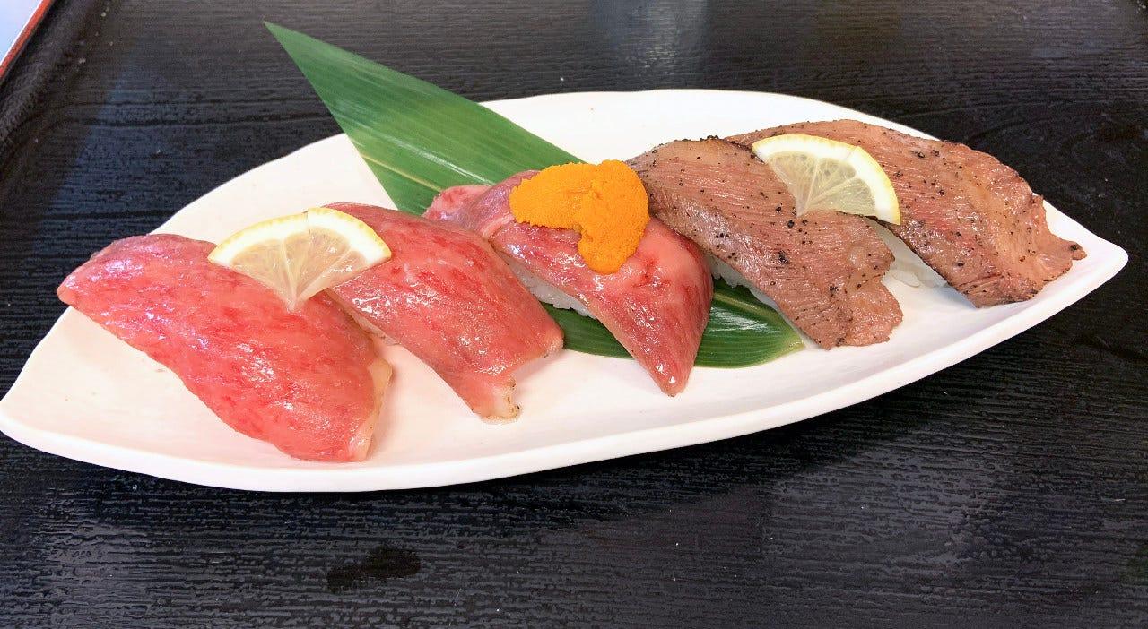 平城苑グループだからできる究極の肉寿司5貫盛り