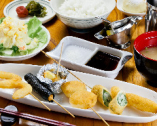 野菜メインの7種の串揚げランチ