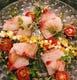 豊洲からの新鮮なお魚。こちらは鯛と鰤のカルパッチョ。