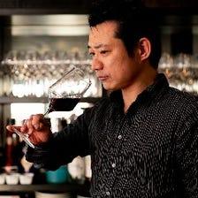 ソムリエ選りすぐりのワインで乾杯