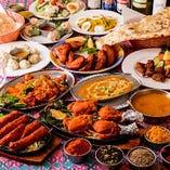カレー2種やタンドーリチキン、チャーハン等「贅沢パーティーコース」<全14品>