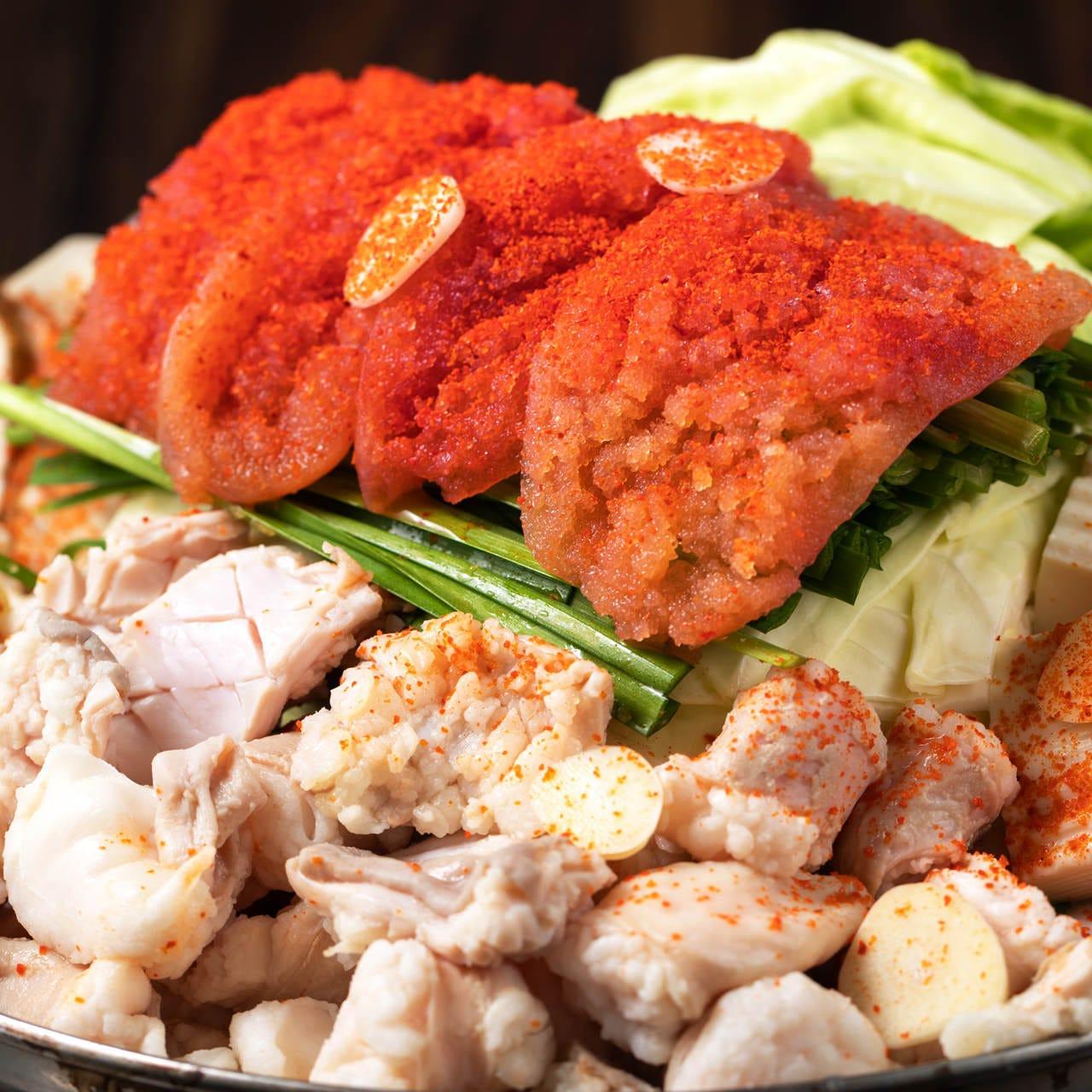 和食出身料理長の思いが詰まった出汁使用「博多明太子もつ鍋」