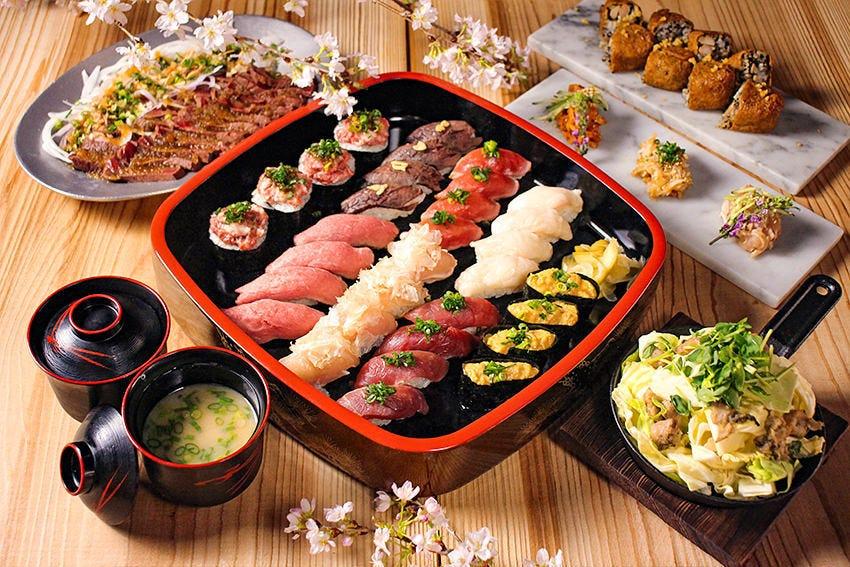 自慢の肉寿司と肉料理が楽しめる2時間飲み放題付コース4,000円~