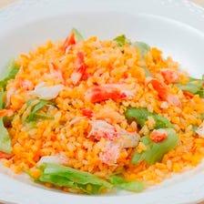 タラバ蟹とレタスの炒飯