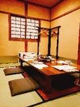 掘りごたつ席やテーブル個室など 様々なタイムの個室あり。