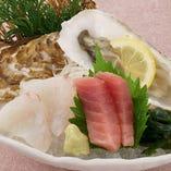 萩浜湾桃浦産 活〆牡蠣とお刺身2種盛り
