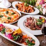 【パーティーコース】本格シチリア料理をパーティースタイルでもお楽しみいただけます!陽気に楽しくイタリア気分を存分にお楽しみいただける大皿コース、フォーマルシーンにも最適な銘々皿のコース、気軽なランチコースなど、多彩にご用意しております。