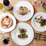 おすすめのランチコース『マーレコース2,800円(税抜)』は、本日の魚料理又は肉料理にパティシエ特製イタリアンデザートの盛り合わせ付きの充実の内容!横浜でのママ会にぜひご利用ください。