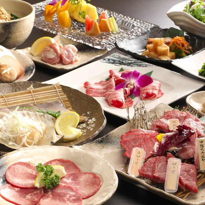 黒毛和牛赤身4種盛&ひら焼き&海鮮盛付お料理5,000円コース