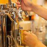 生ビールはコースの飲み放題でもお楽しみいただけます