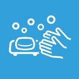 マスク着用、手洗い・うがい・手指消毒の徹底 開店前には検温による体調管理も行っています