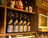 焼酎は10種類用意され3か月間ボトルキープ可能な銘柄もある。
