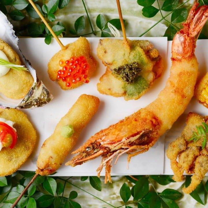 米油でサクッと揚げた京風串揚げ!沖縄食材多数◎軽い食感で絶品