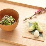 たらの芽揚げ・春野菜の沢煮