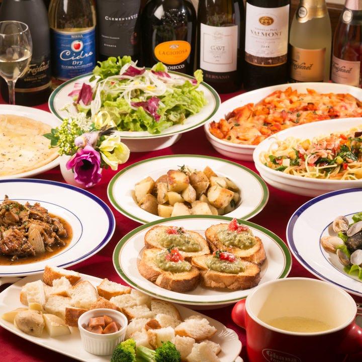 藤沢野菜や季節の食材を楽しめるコースは3,000円(税込)~