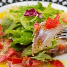 天然真鯛のカルパッチョ~サラダ仕立て~