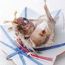 お祝いの会席に天然鯛の塩焼きを