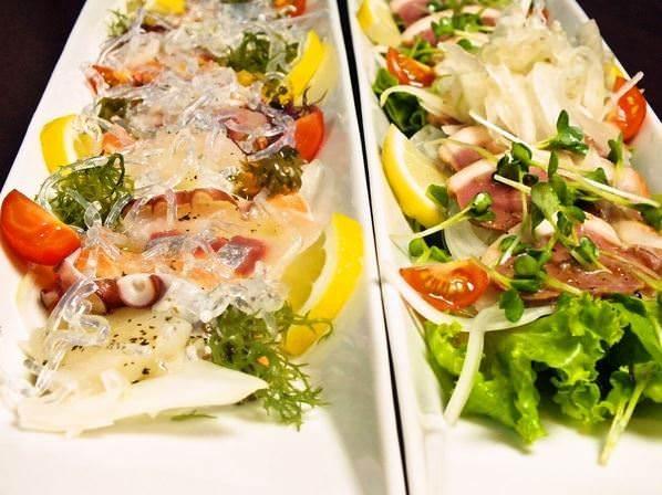 旬の野菜やお魚を使用したカルパッチョ