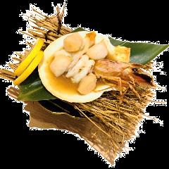 海老と貝の殻焼き