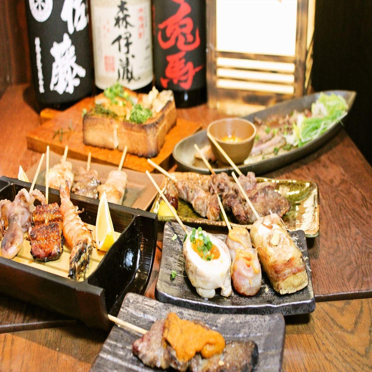 串焼き、炙る料理が登場のコース!!