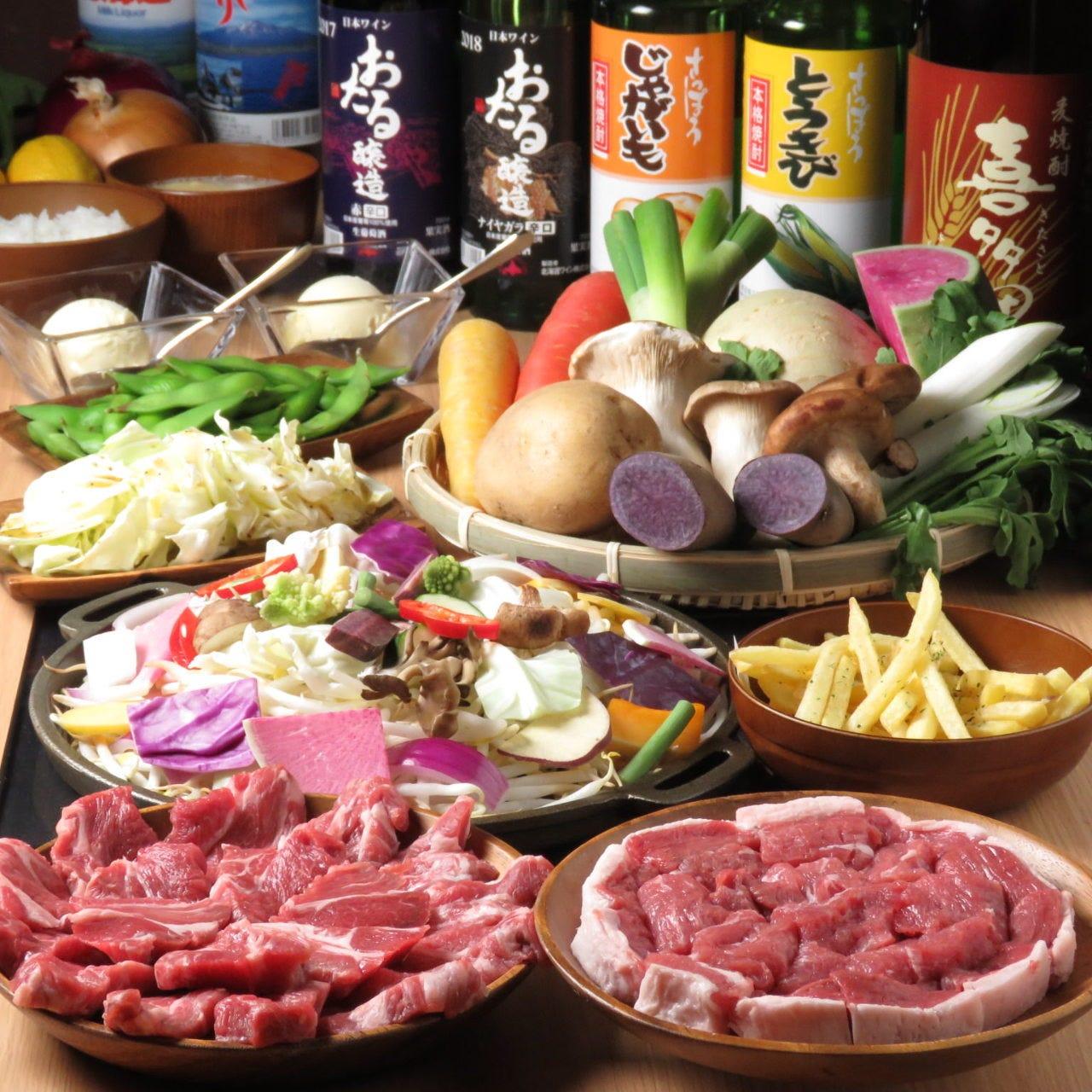 大人気の生ラム2種食べ比べ★★カラフル焼野菜とおつまみ★2時間飲み放題コース★