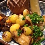 つぶ貝と銀杏の醤油焼き