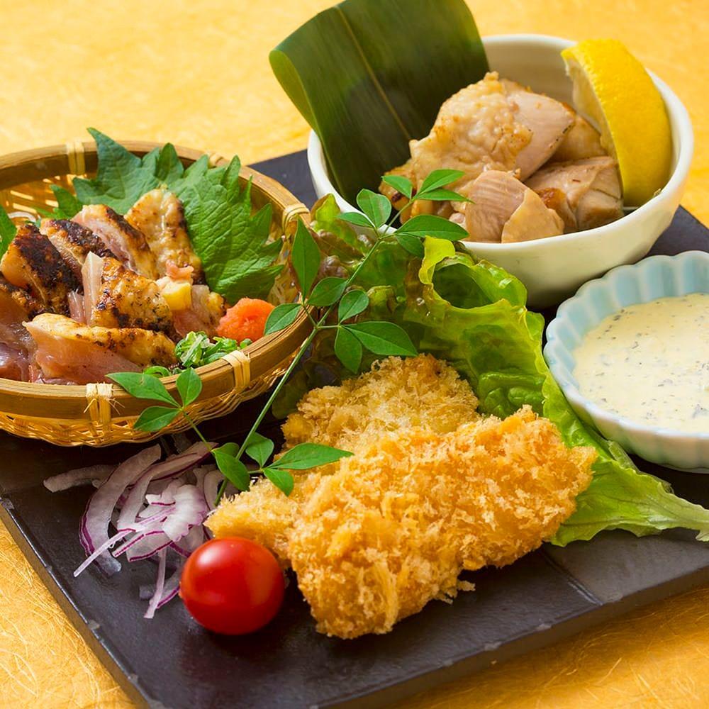 自慢の播州百日どり料理。 鶏たたき・南蛮・鉄板焼き