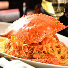渡り蟹のうまみたっぷりトマトクリームスパゲッティーニ