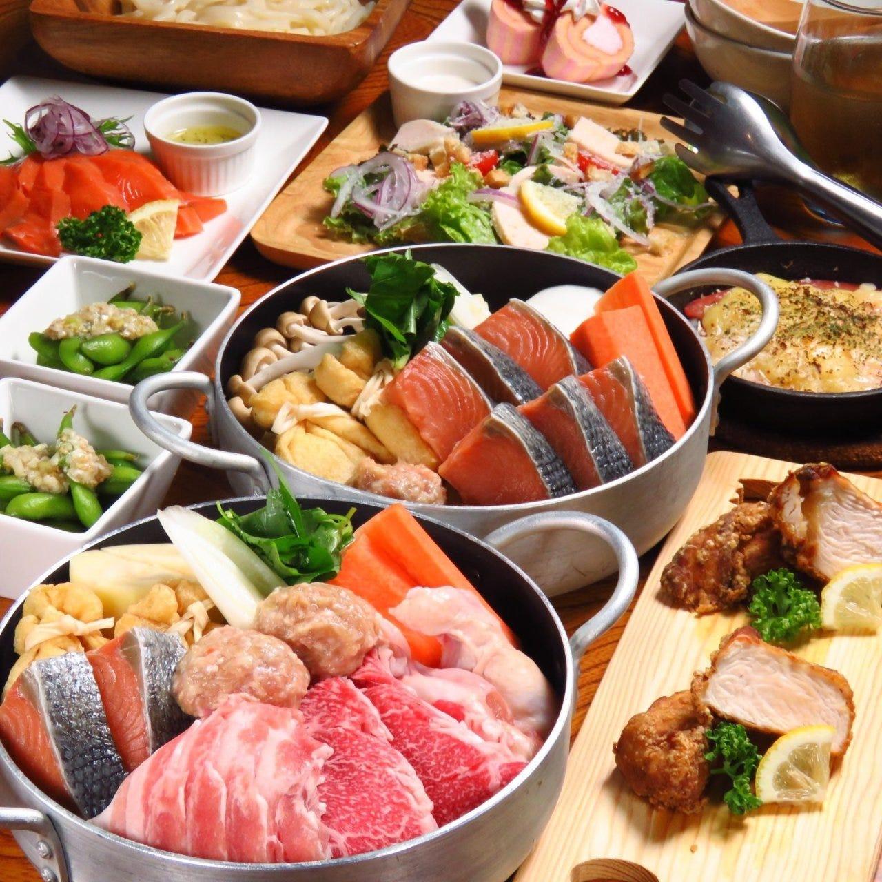 ◆他では絶対に味わえないオリジナル料理で歓送迎会!よくばりコース≪個室◎≫生付飲放 4000円
