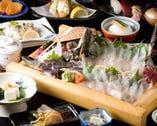 九州ならではのお魚、食材を使った会席コース。3000円~。