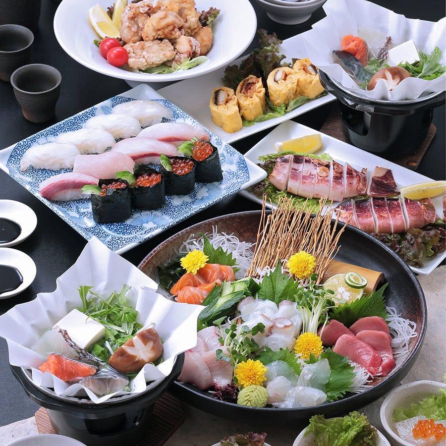 【忘年会】【飲み放題付】<魚>を楽しむ小鍋&にぎり寿司付き、5,000円ポッキリコース!