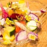 彩り野菜と食べれるお花のカルパッチョ