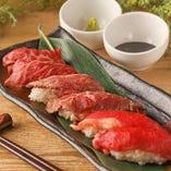 【肉寿司三種食べ比べコース】3時間飲み放題付<全9品>5299円→4299円