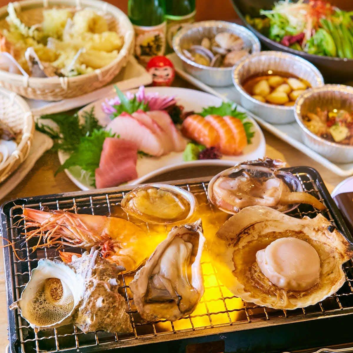 【人気No.1!】三種の海鮮浜焼と肉寿司コース《120分飲み放題付》3500円