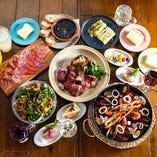 スペイン料理や薪火料理が満喫できるコース3,500円(税込)〜